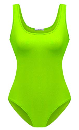 Women's Sexy Scoop Neck Bodysuit, Neon Green, Other Colors Available, S to XXL