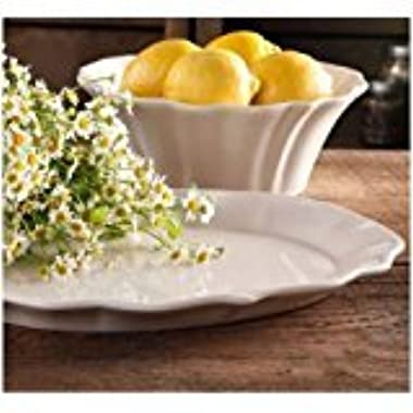 The Pioneer Woman Paige 2-Piece Serving Set with 10  Serving Bowl and 14  Serving Platter, Glaze Stoneware, Linen