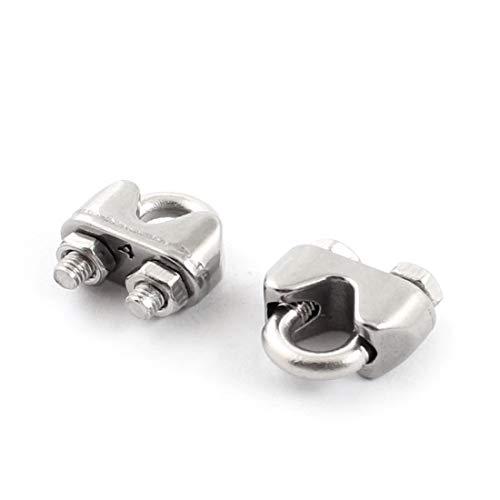 New Lon0167 2pcs abrazadera Destacados de la abrazadera eficacia confiable del clip del cable de acero inoxidable para 5/32' '4 mm cuerdas de alambre(id:7a4 2c 42 cf3)
