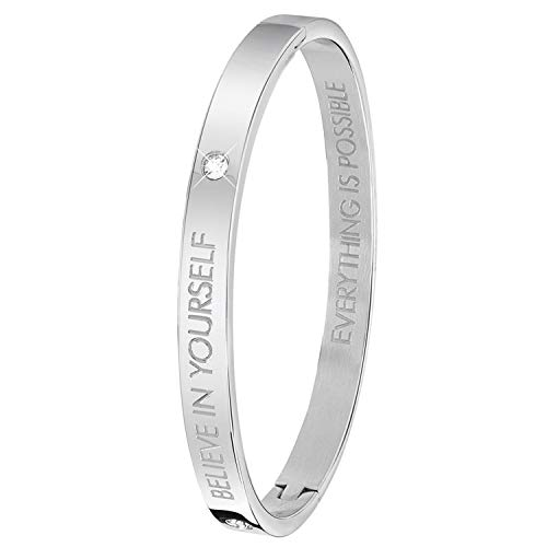 Guess - Bangle-Stahlarmreif mit Text: Believe in Yourself.