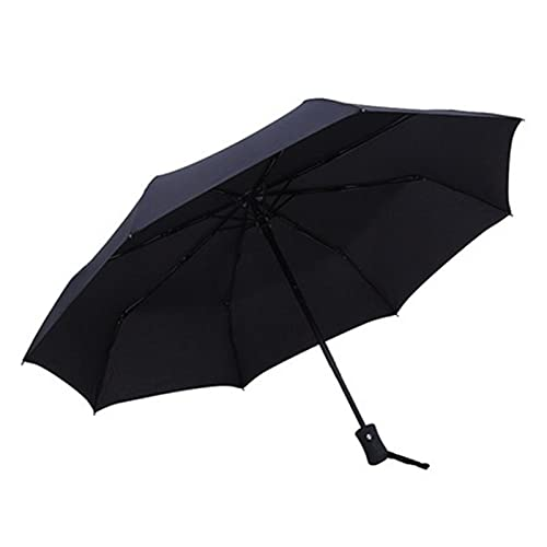 XIAOXU MIN Paraguas plegable automático a prueba de viento a prueba de viento y grandes de moda negro paraguas paraguas regalos hombres mujeres a prueba de viento parasol masculino ( Color : Black )