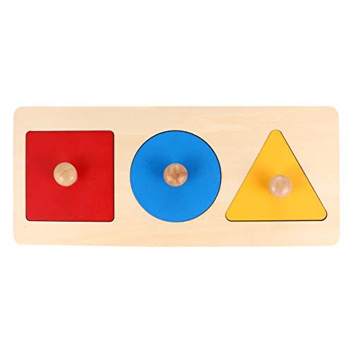 Tomaibaby 1 Stück Baby Holzform Puzzles Montessori Holzknauf Puzzle Peg Board Geometrische Form Match Baby Lernspielzeug