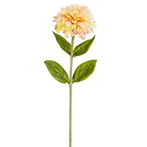 29″ Zinnia Silk Flower Stem -Peach (Pack of 12)