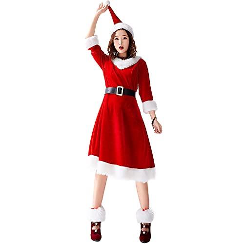 HBHBYNYN Disfraz de Santa para Mujer - Conjunto de Disfraces de Cosplay - Vestido de Terciopelo con Capucha y cinturón para Navidad (Color : Red, Size : S)