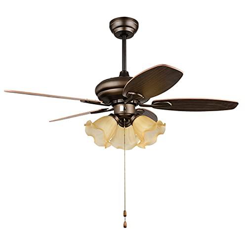 Ventilador de techo con accesorios iluminación, ventiladores techo estudio perfil bajo silenciosos marrones retro para dormitorio, sala de estar, comedor con motor incluido, 5 aspas,Pull line,42in