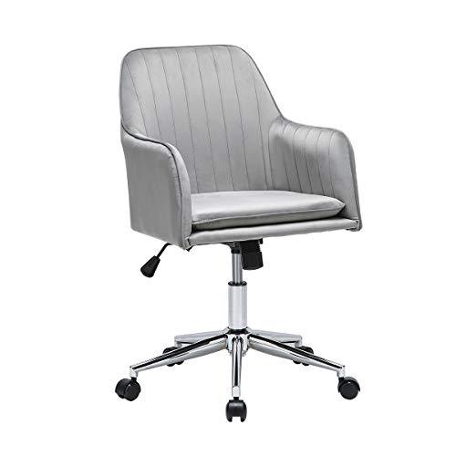 TITISKIN Home Office Chair, Velvet Desk Task Chair Furniture Adjustable Swivel Computer Desk Chair Soft Comfortable Executive Chair for Home Office, Bedroom, Living Room, Grey