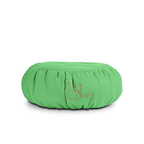 SparkYourBloom Cuscino per Meditazione Zafu di Alta qualità, con Sostegno per la Postura, Color Verde, Lavabile in Lavatrice, 35 x 35 x 15 cm