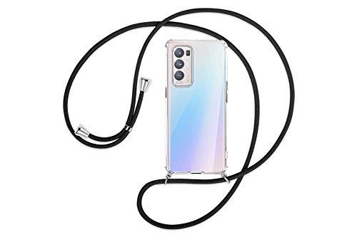 mtb more energy Collar Smartphone para OPPO Find X3 Neo (6.55'') - Negro - Funda Protectora ponible - Carcasa Anti Shock con Cuerda Correa