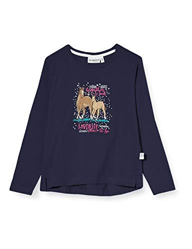 Salt & Pepper Mädchen Longsleeve Royal Uni Stick App Hemd, Crown Blue Melange, 116/122