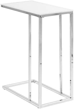 Best eHomeProducts Contemporary Snack Table with Glass Top, Chrome and Smoked White
