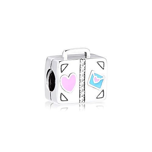 Pandora 925 Pulsera de joyería Plata de ley natural Maleta de viaje Cuentas de metal Encantos Fit...