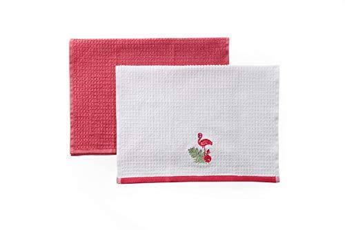 TAC Juego de 2 paños de cocina, absorbentes, 100 % algodón, toalla de cocina, diseño de punto, multicolor, calidad (Rose - Flamingo), rosa, blanco, 60 x 40 cm