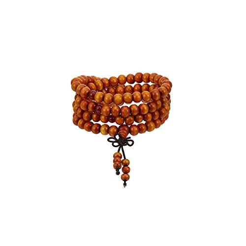 Awertaweyt Pulsera de Cuentas, 1Pcs 8Mm Natural Sandalwood Buddhist Buddha Meditation Wood Prayer Bead Mala Bracelet Bangles Women Men Jewelry 108 Beads Bijoux Light Brown