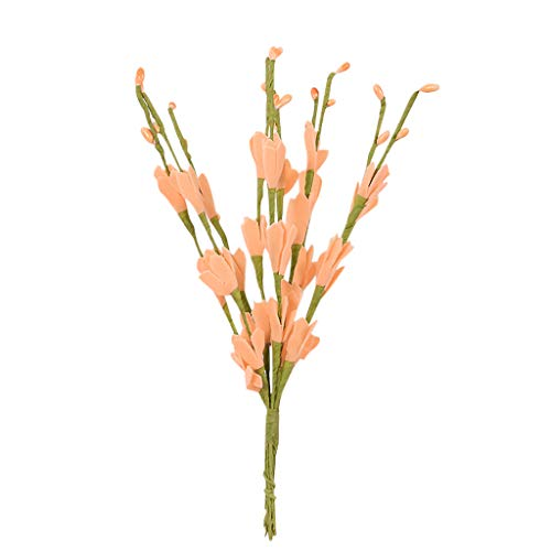 Xshuai® Fleurs artificielles en soie Eucalyptus vertes Fleurs de mariage Décoration de jardin Fête Anniversaire Saint Valentin Jardin Maison Total length:Appr.51cm Orange