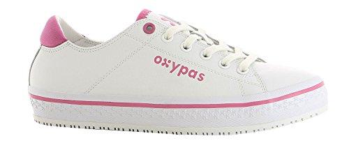 Oxypas Fashion, Berufsschuh Paola, Antistatischer (ESD) Leder Sneaker für Damen (39, Weiß - Fuchsia)