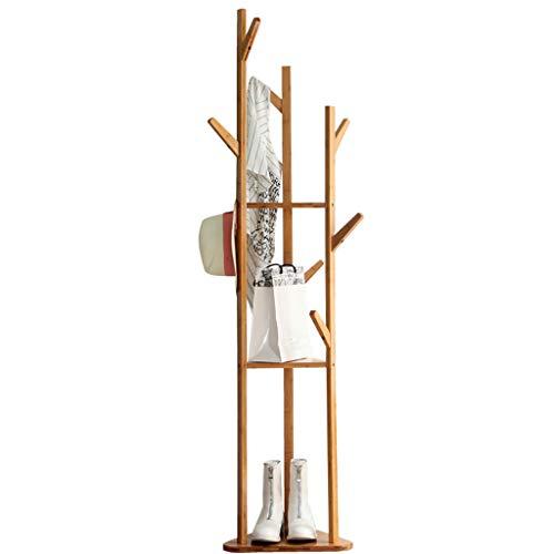 Yimaojia Creativo En Forma De Árbol Perchero De Bambú Perchero De Pie Dormitorio Sala De Estar Estante De Almacenamiento Sombrero Bolso Estante Colgando Soporte De Flores Interior (W36 * H140 / 155/17
