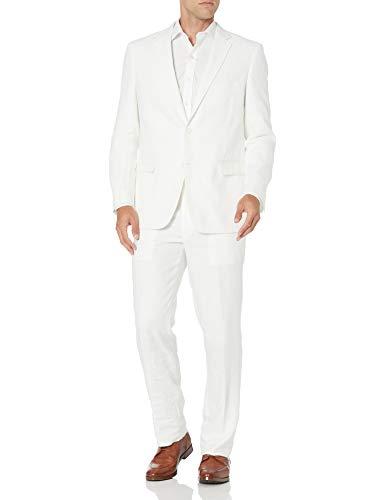 Adolfo Men's Linen Modern Fit Suit, White, 44 Regular