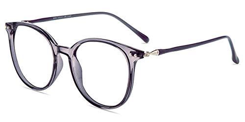 Firmoo Blaulicht Brille Entspiegelt ohne Sehstärke Damen, Herren Computerbrille Anti Augenmüdigkeit, Runde Blaufilter Gläser UV Schutzbrille für Bildschirme, Lila