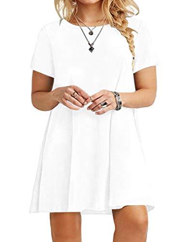 KARALIN Women's Plus Size Simple Short Sleeve Round Neck Fit T-Shirt Loose Dress(26W,White)