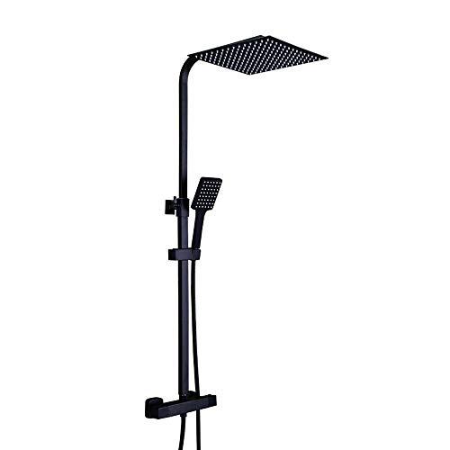 Conjunto de ducha de altura ajustable, cuadrado, acero inoxidable, ducha de lluvia, color negro con termostato, alcachofa de mano para ducha, baño