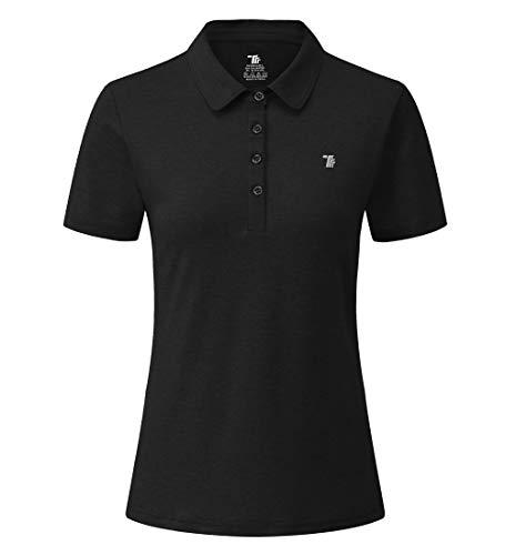 donhobo Poloshirt für Damen Kurzarm T-Shirt Basic Casual Polohemd Sport Running Quick Dry Golf Polo Shirts (Schwarz, XL)