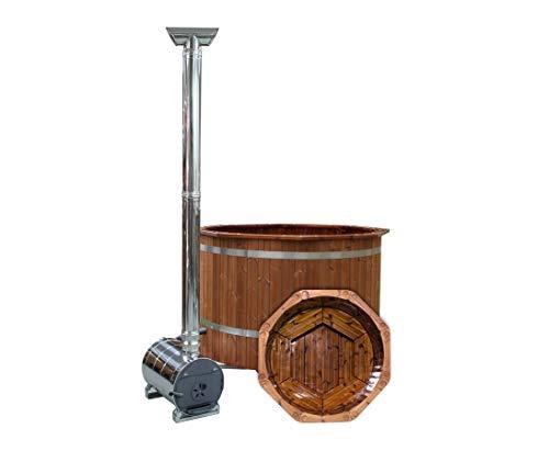 bambus-discount.com Badefässer Premium Set, Holz Ofen, Durch. 150cm - für Holzbadefass Badefässer Badefass für draussen Badetonne Hot Tubs Badebottich Holzbadewanne