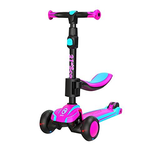 2 en 1 scooter infantil,scooter plegable de la dirección de inclinación de cubierta ultra ancha,con ruedas de PU parpadeante y 5 alturas ajustables, adecuadas para niños y niñas de 2 a 12 años,Púrpura