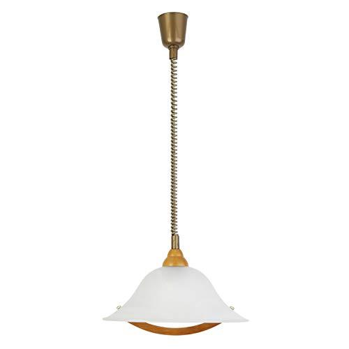 Brilliant Torbole Pendelleuchte 36cm mit Rollizug höhenverstellbar buche/messing/weiß-alabaster Glas, 1x E27 geeignet für Normallampen bis max. 60W
