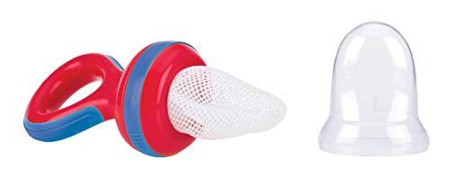Nuby Nuby - Retina Svezzamento Neonati con cappuccio igienico- Retina per suzione frutta e verdura per bambini dai 6 Mesi - Rosso