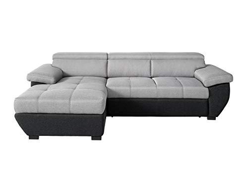 Mivano Ecksofa Speedway / Moderne Couch in L-Form mit verstellbaren Kopfteilen und Recamiere / 267 x 79 x 170 / Zweifarbig: Grau-Schwarz
