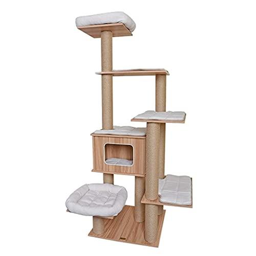 YAMMY Cuerda de Yute Marco de Escalada para Gatos Madera Maciza Seis Capas Gran Espacio Árbol para Gatos Almohadilla de algodón Desmontable Fácil de Limpiar (árbol para Gatos)