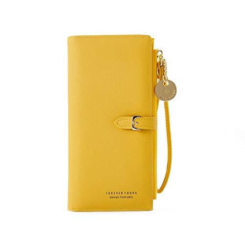 SENFEISM Unisex mujeres pulsera larga cartera mujer cuero carteras señora monedero cremallera teléfono bolsillo titular de la tarjeta paquete señoras