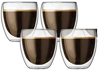 XiuWoo 4-pieces Double Wall Glass Set Insulated Glass Coffe Mugs,Tea Cups 250ml