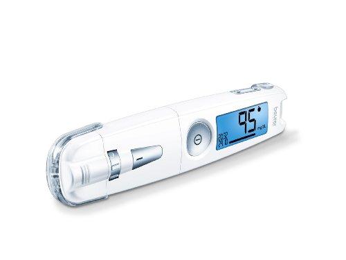 Beurer GL 50 Blutzuckermessgerät mg/dl (Weiß, 3 in 1: Messgerät, Stechhilfe und USB Anschluss zur Auswertung und Beobachtung der Blutzuckerwerte)