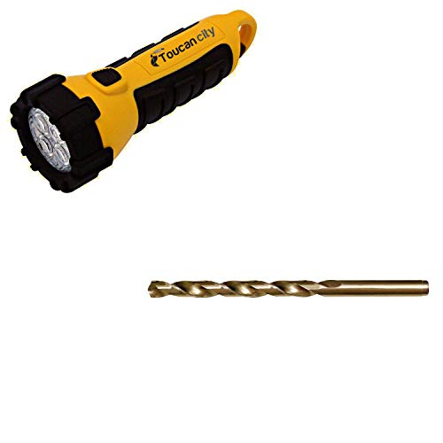 Toucan City LED Flashlight and CLE-LINE 1802 13/32 in. Cobalt Heavy-Duty Jobber Length Drill Bit (6-Piece) C23367