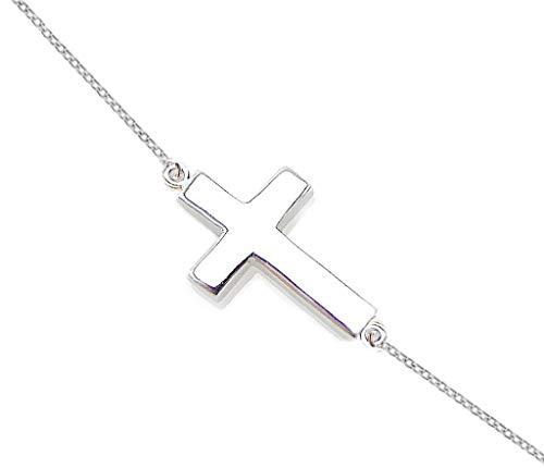 ODETOJOY Collar con Cruz Lateral de Plata y Collar para Mujer.