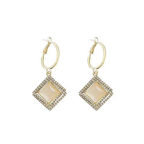 S925 Pendientes de aguja de plata Pendientes de ojo de gato cuadrados geométricos de personalidad Pendientes largos de temperamento con incrustaciones de diamantes de alta calidad Pendientes de moda