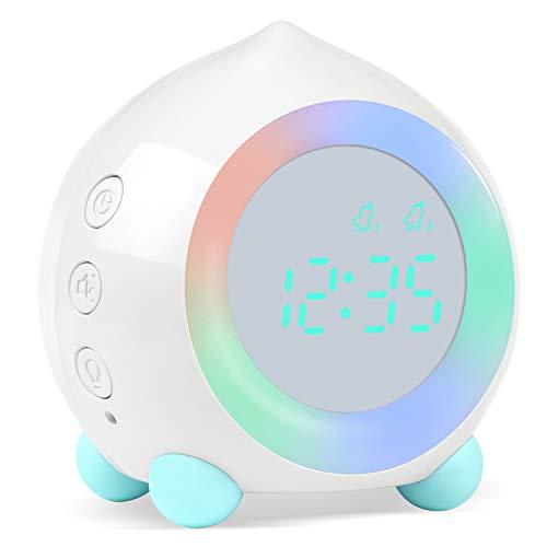 PROKING Reloj Despertador Infantil Digital, Despertador Digital Simulador de Amanecer Despertador para Niñas Niños con Luces Colores y Lámpara de Luz Nocturna Despertador Silencioso (Blanco)