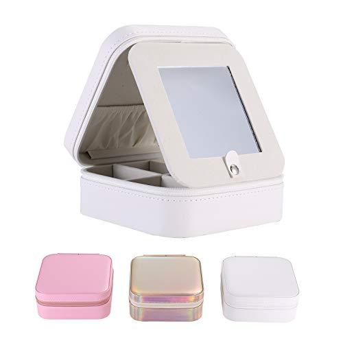 Mini cajas joyero joyero joyero de viaje con espejo, organizador portátil de joyas para anillos, pendientes, collares, pulseras (blanco, 12 x 12 x 5,5 cm)