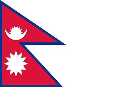 18 x 12 (45 x 30 cm) Nepal Nepalese Sleeved Boat Courtesy 100% Polyester Material Hand Waving Flag Banner Ideal For Pub Club School Festival Business Party Decoration by UKFlagShop