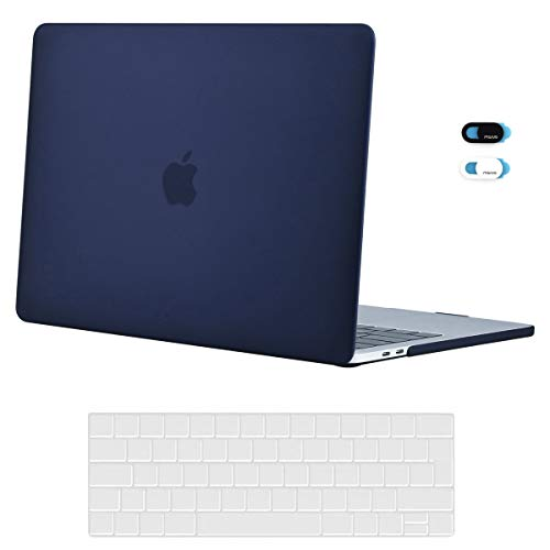 MOSISO Plastic Hard Shell Case&Keyboard Cover&Webcam Cover Compatibel met MacBook Pro 13 inch met/zonder Touch Bar marineblauw