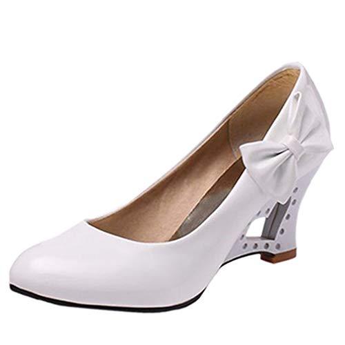 CHICMARK Süß Pumps mit Keilabsatz Bogen Damen Schuhe (Weiß, 35 EU)