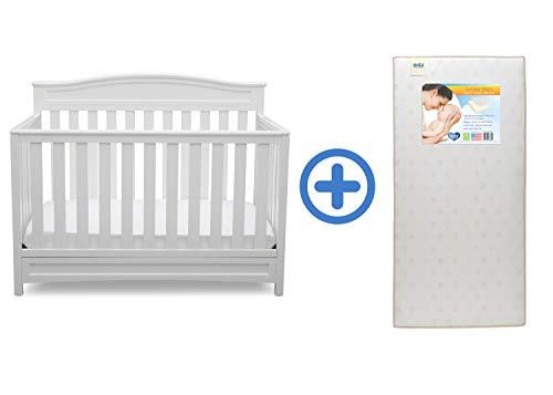 Delta Children Emery 4-in-1 Crib, White with Twinkle Stars Crib & Toddler Mattress