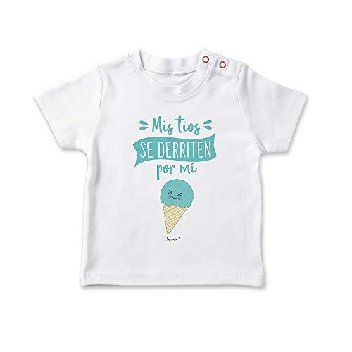 SUPERMOLON Camiseta bebé Mis tíos se derriten por mi Blanco 1-2 años