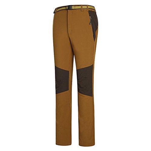 emansmoer Femme Pantalon Softshell Doublé Polaire Coupe-Vent Imperméable Outdoor Sport Pantalon de Randonnée d'escalade (Large, Coffee)