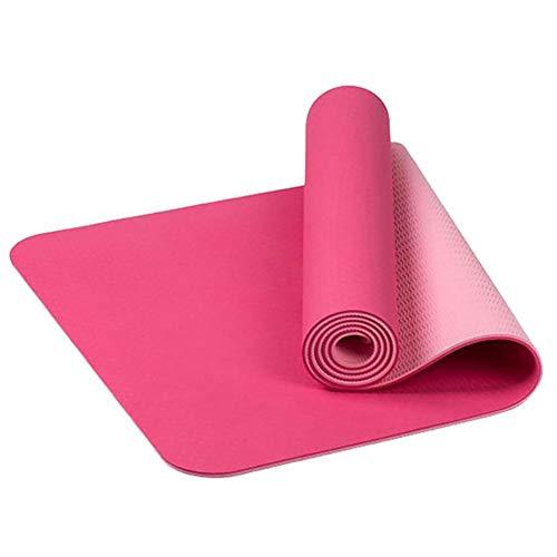 Whiie891203 Gymnastikmatte, rutschfest, TPE, für Zuhause, Outdoor, Fitness, Workout, Pilates, Yoga, Teppich – schwarz-grün, rose