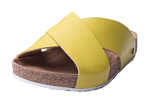 HAFLINGER 819412-0 Bio Mio Damen Pantoletten Clogs Hausschuhe, Größe:37 EU, Farbe:Gelb
