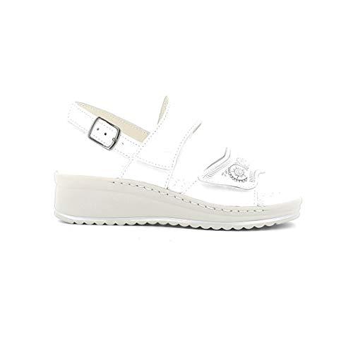 Melluso Sandalo Donna 017307a in Pelle Bianca con Sottopiede in Memory Foam 39