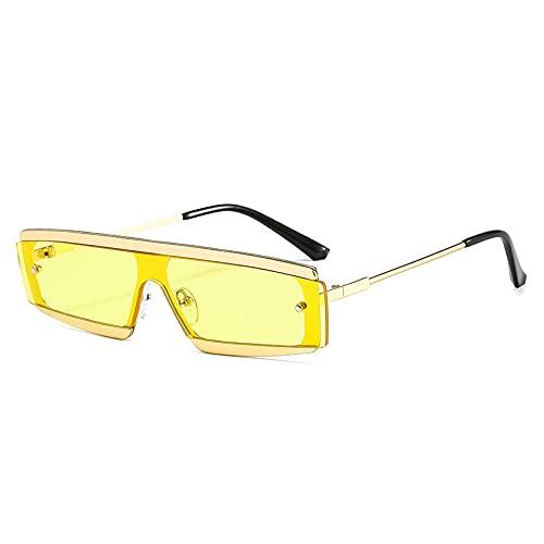 DLSM Rectángulo de Moda One Piece Gafas de Sol Mujeres Vintage Semi-Rimless Clear Ocean Lente Eyewear Hombres Metal Sun Glasses Shades-Amarillo Dorado
