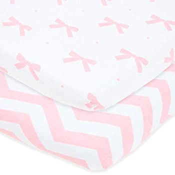 Bassinet Fitted Sheets Compatible with Chicco Lullago Bassinet and Chicco Close to You 3-in-1 Bedside Sleeper – Snuggly Soft Jersey Cotton – Fits Perfectly on 19 x 32 Mattress – Pink – 2 Pack